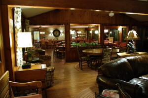 The sunroom and dining room in the main lodge.