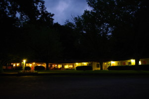 Main lodge at dusk