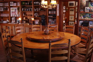 One of inn's 5 large lazy-susan tables.
